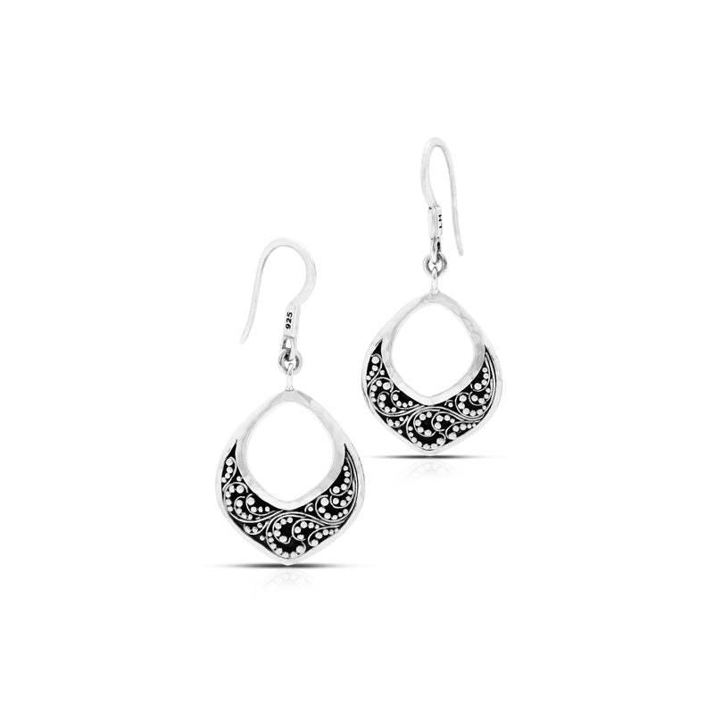 Classic Open Granulated Drop Fishook Earrings. 20mm X 27mm