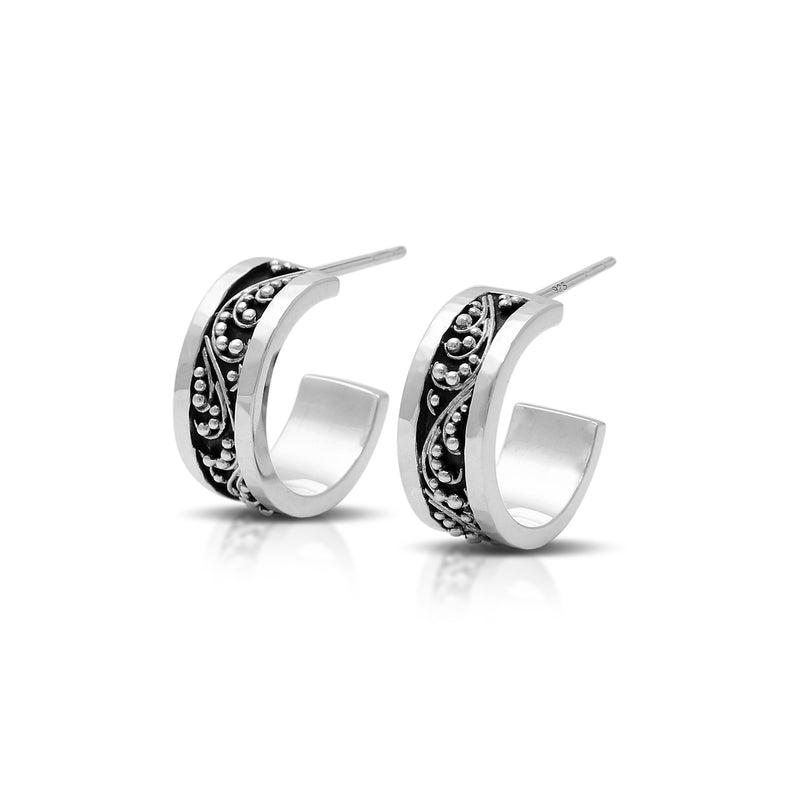Classic Signature Granulated Hoop Earrings. 6mm W x Diameter 14mm
