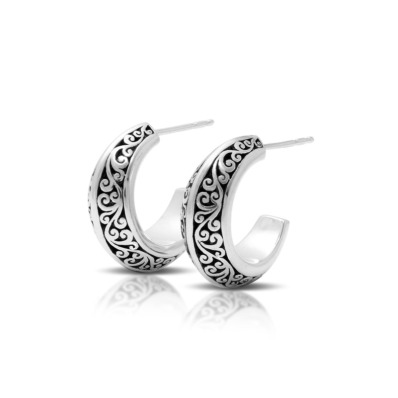 Classic Signature Scroll Hoop Earrings. 8mm W x Diameter 13mm
