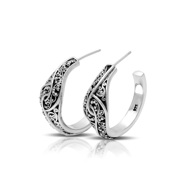 Classic Signature Scroll Granulated Hoop Earrings. 9mm W x Diameter 23mm