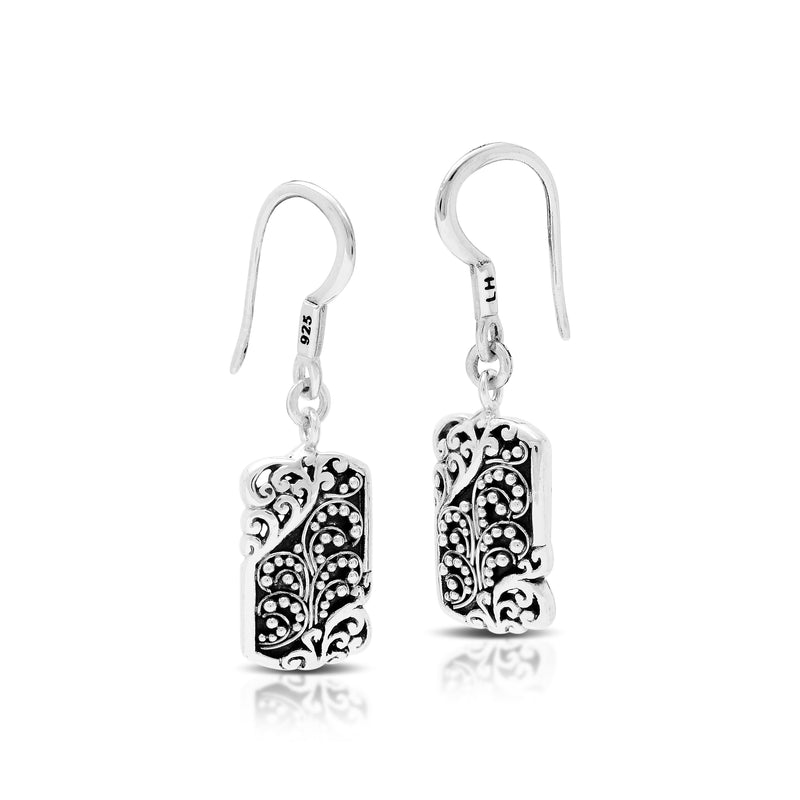 Classic Signature Open Scroll Granulated Rectangle Fishook Earrings. 10mm x 22mm