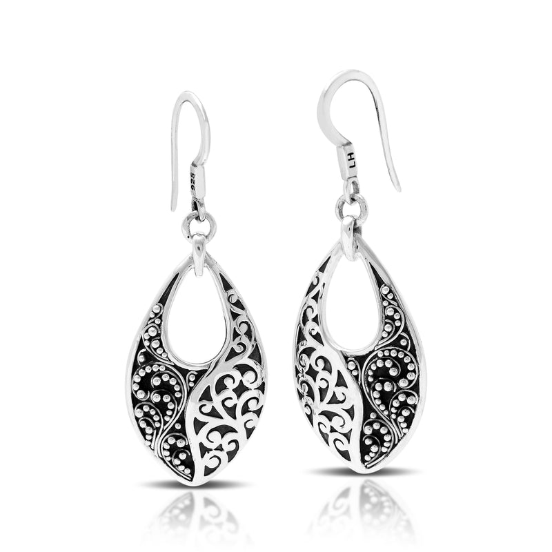 Classic Signature Scroll Granulated Teardrop Fishook Earrings. 12mm x 34mm
