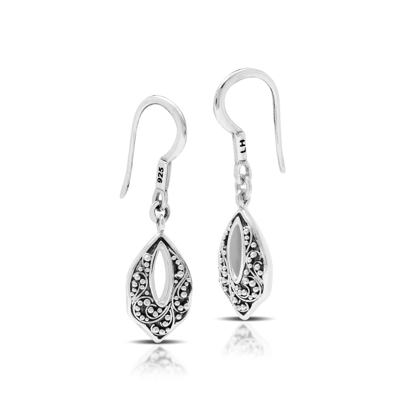 Classic Granulated Drop Fishook Earrings. 10mm x 21mm