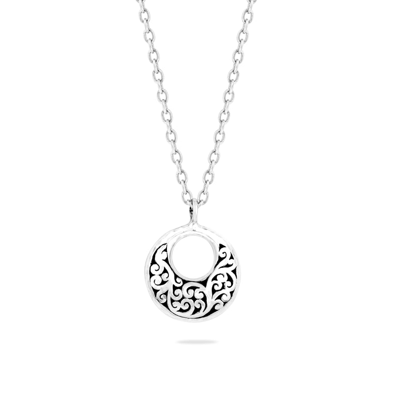 Open Round Signature Scroll Pendant Necklace