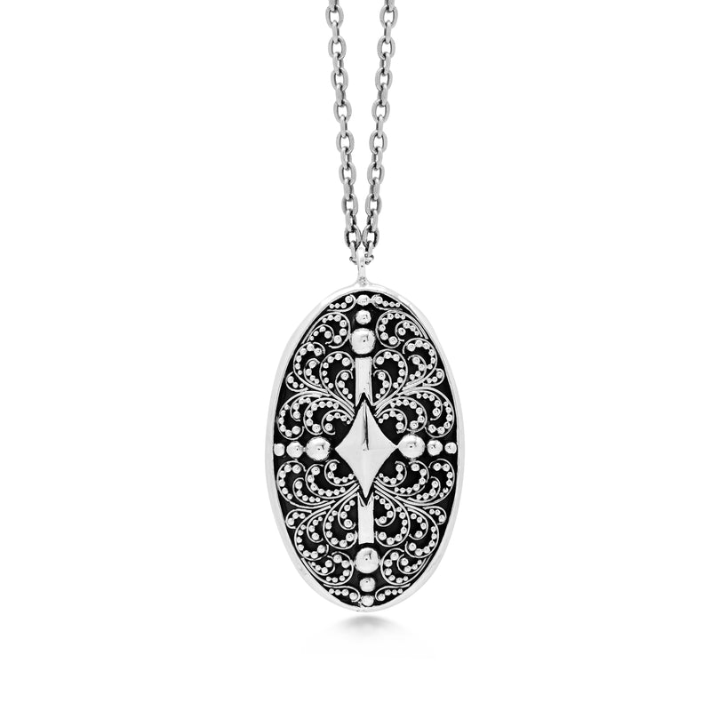 Oval Classic Granulation Alhambra Pendant Necklace - Lois Hill Jewelry