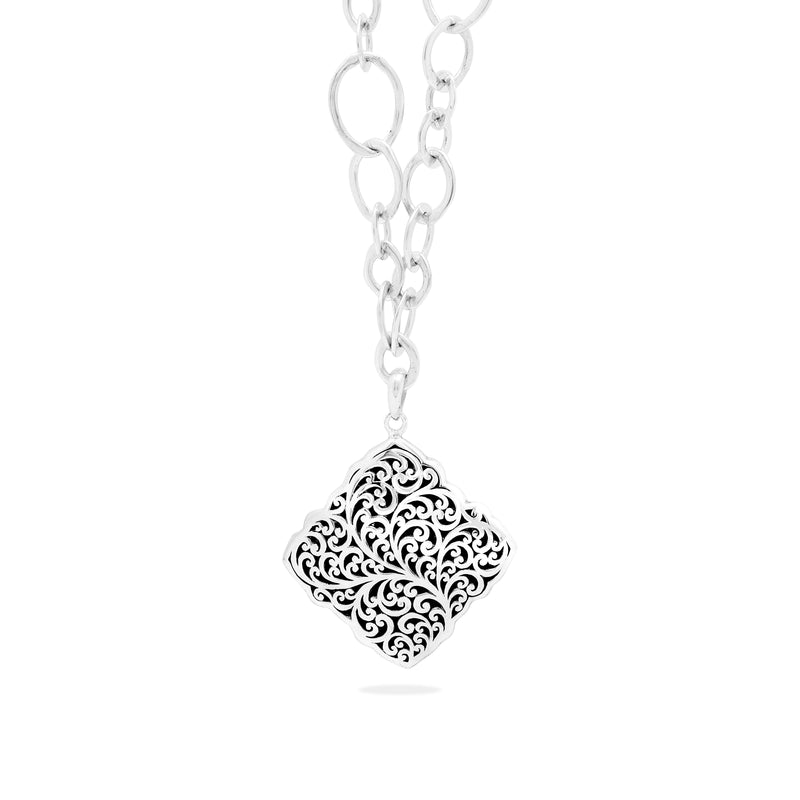 Classic Granulated with Signature Scroll Alhambra Pendant Necklace - Lois Hill Jewelry