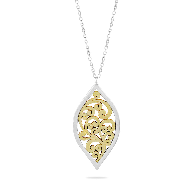 "Marquise Drop Open Scroll Pendant Necklace in 18K Gold-Plated Vermeil Silver  with 17"" Silver Chain - Lois Hill Jewelry"