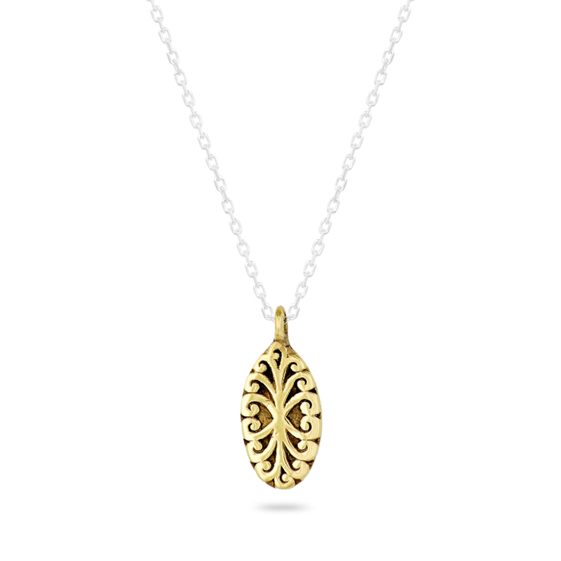 "Oval Geometric Scroll Pendant Necklace in 18K Gold-Plated Vermeil Silver  with 18"" Silver Chain - Lois Hill Jewelry"
