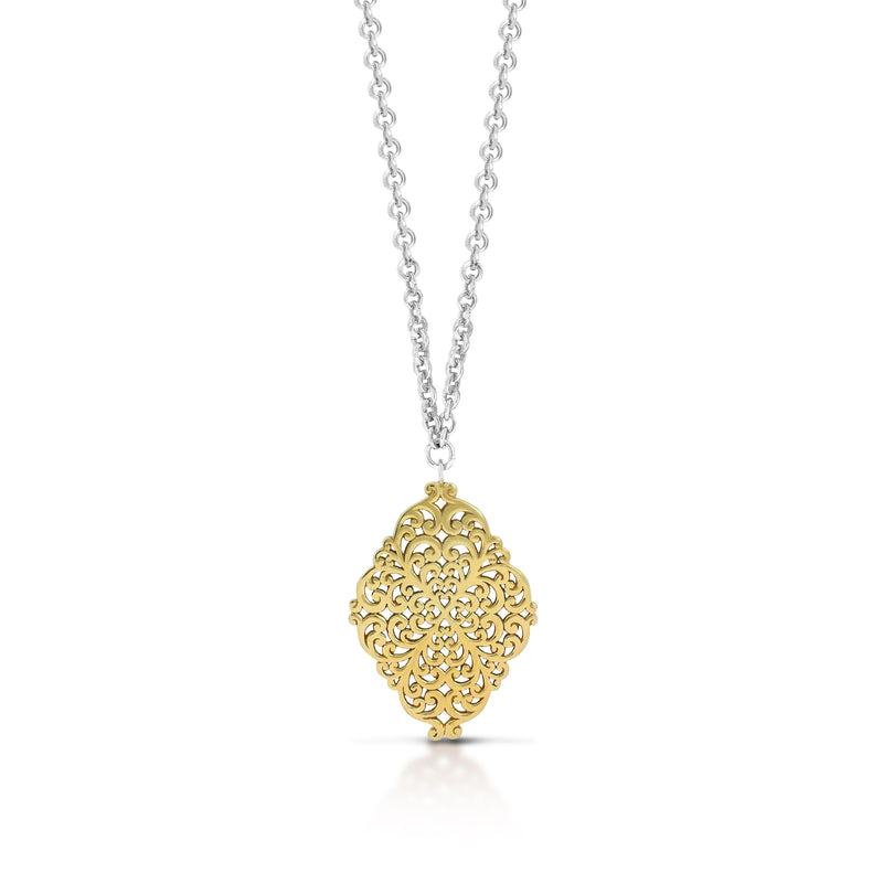 "Geometric Scroll Pendant Necklace in 18K Gold-Plated Vermeil Silver  with 17"" Silver Chain - Lois Hill Jewelry"