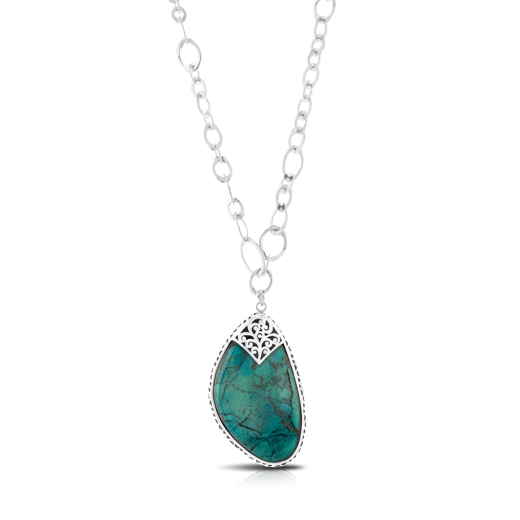 "Organic Shaped Turquoise with Hand Carved LH Scroll Rim on Handmade Sterling 17"" Silver Chain.  Pendant 38 by 70 mm - Lois Hill Jewelry"