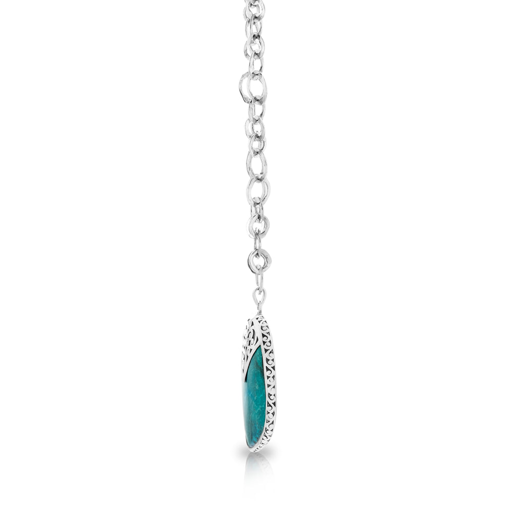 "Organic Shaped Turquoise with Hand Carved LH Scroll Rim on Handmade Sterling 19"" Silver Chain.  Pendant 35 by 49 mm - Lois Hill Jewelry"