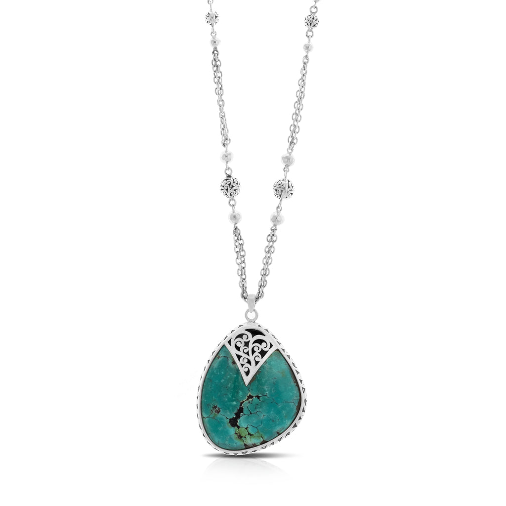 "Organic Shaped Turquoise with Hand Carved LH Scroll Rim on Handmade Sterling 17"" Silver Chain.  Pendant 36 by 44 mm - Lois Hill Jewelry"