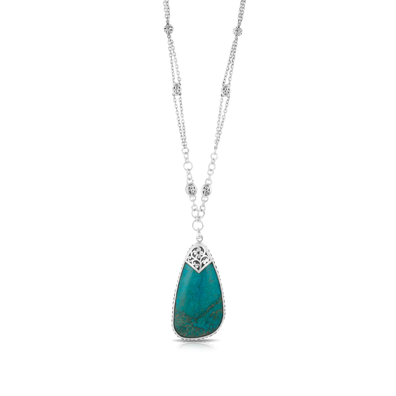 "Organic Shaped Turquoise with Hand Carved LH Scroll Rim on Handmade Sterling 18"" Silver Chain.  Pendant 31 by 60 mm - Lois Hill Jewelry"