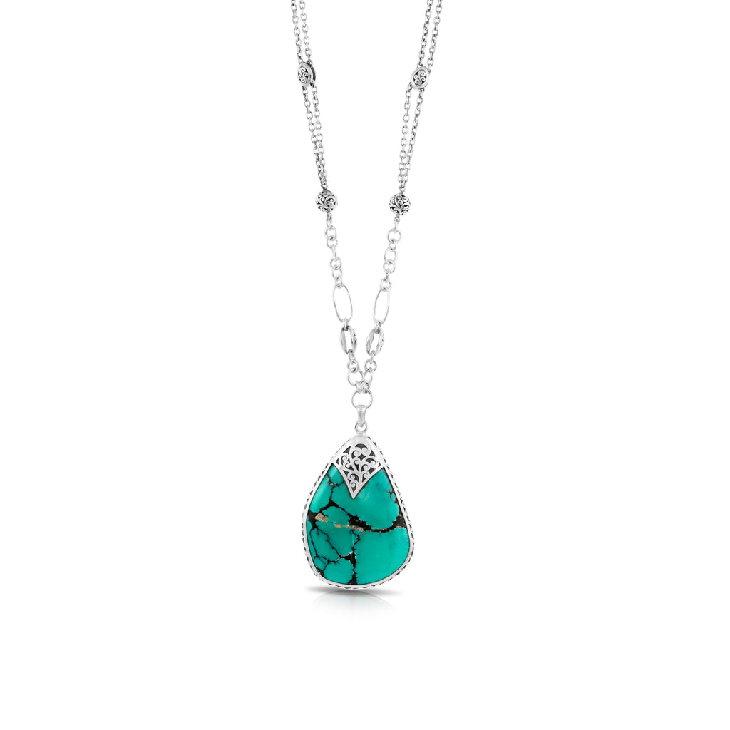 "Organic Shaped Turquoise with Hand Carved LH Scroll Rim on Handmade Sterling 17"" Silver Chain.  Pendant 39 by 55 mm - Lois Hill Jewelry"