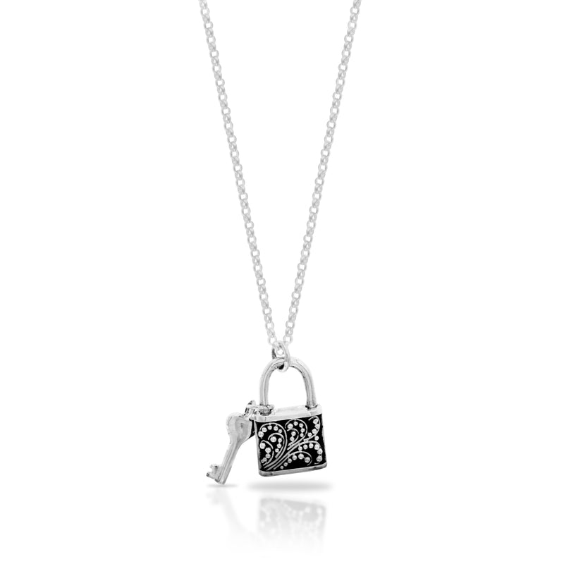 Classic Granulated Padlock with Key Pendant Necklace. Pendant 17mm x 10mm