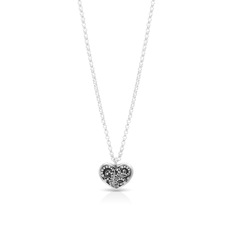 Small Classic Granulated Heart-Shaped Pendant Necklace. Pendant 12mm x 13mm