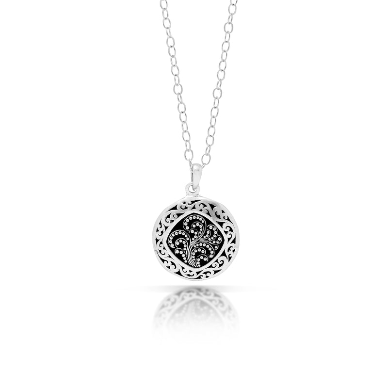 "Classic Round Classic Signature Scroll with Granulated Pendant Necklace. Pendant 23mm 18"" chain"