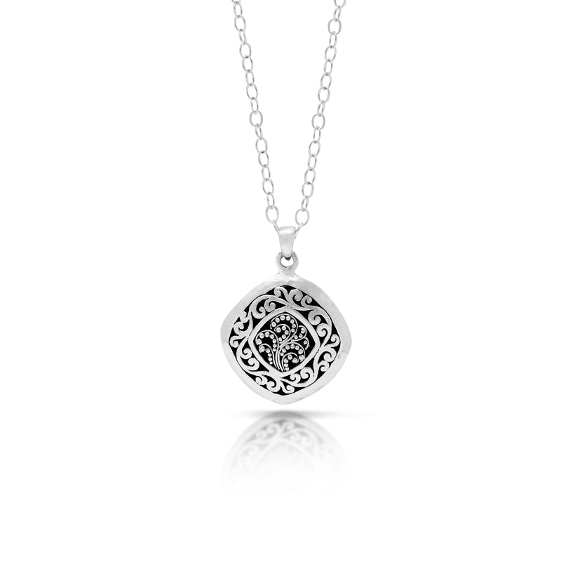 Granulated with Classic Signature Scroll Border Diamond-Shaped Pendant Necklace