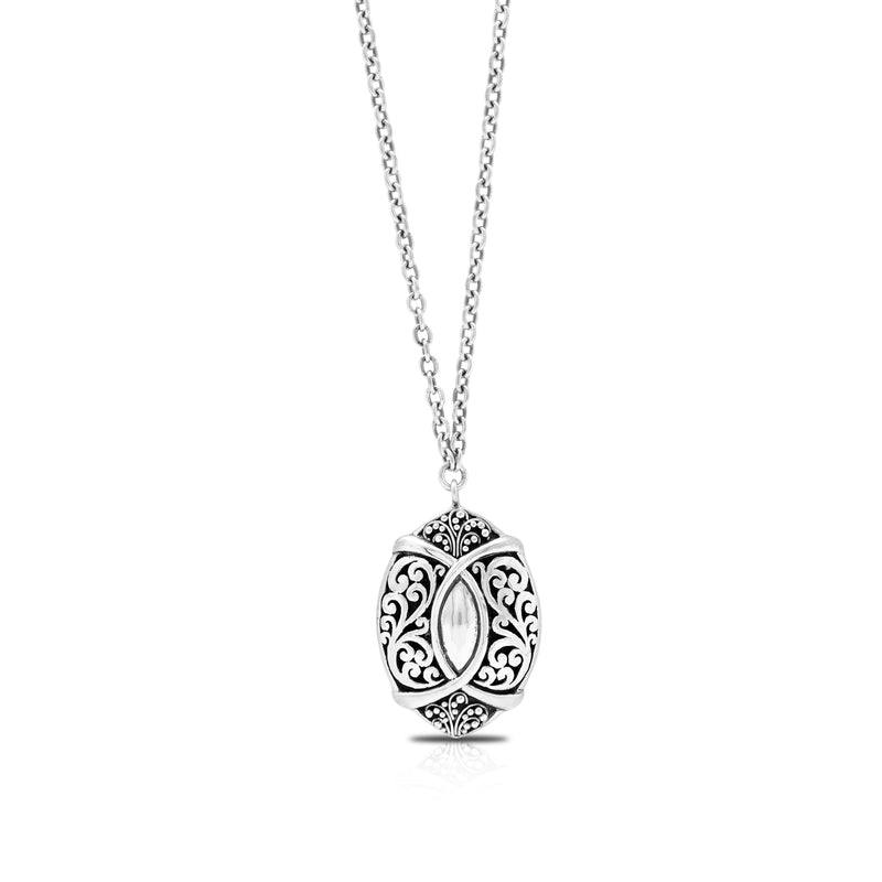 Classic Granulated and Signature Scroll with Hammered Pendant Necklace