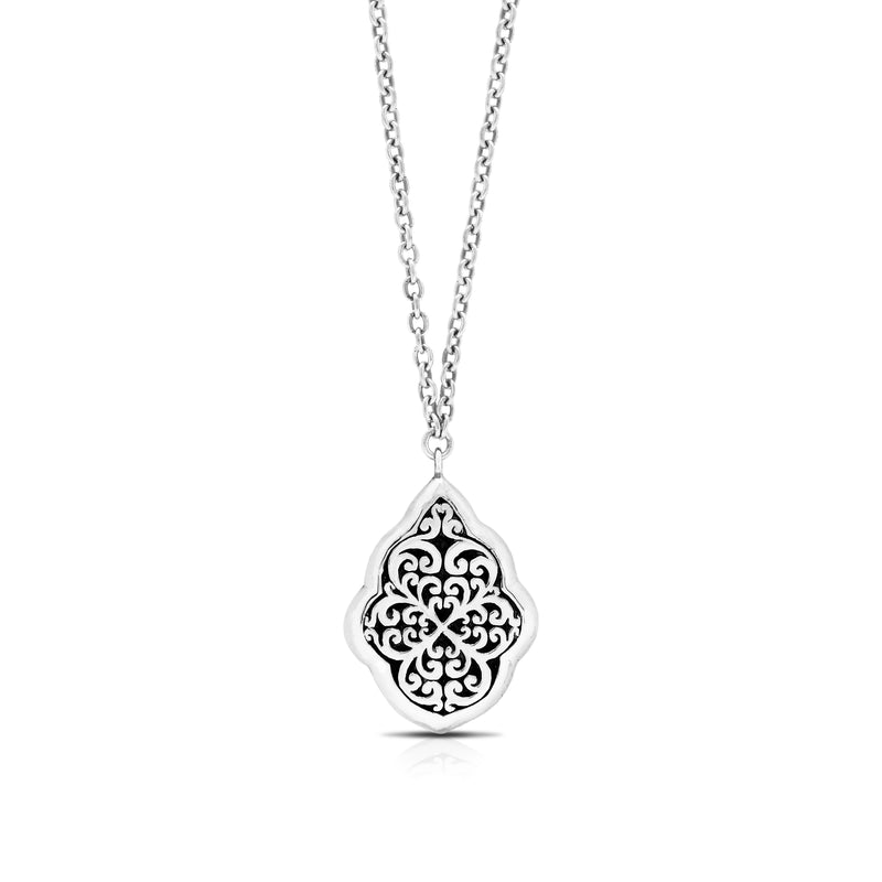 "Classic Signature Geometric Scroll Pendant Necklace. Pendant 21mm x 33mm 17"" chain"