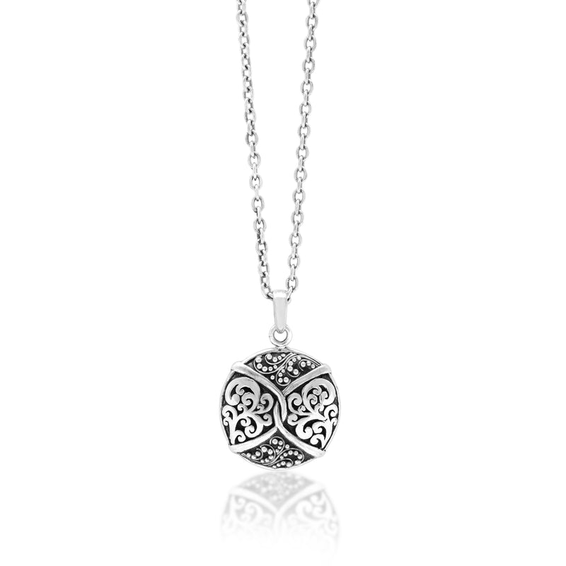"Classic Signature Scroll Granulated Pendant Necklace. Pendant 20mm X 31mm 17"" chain"
