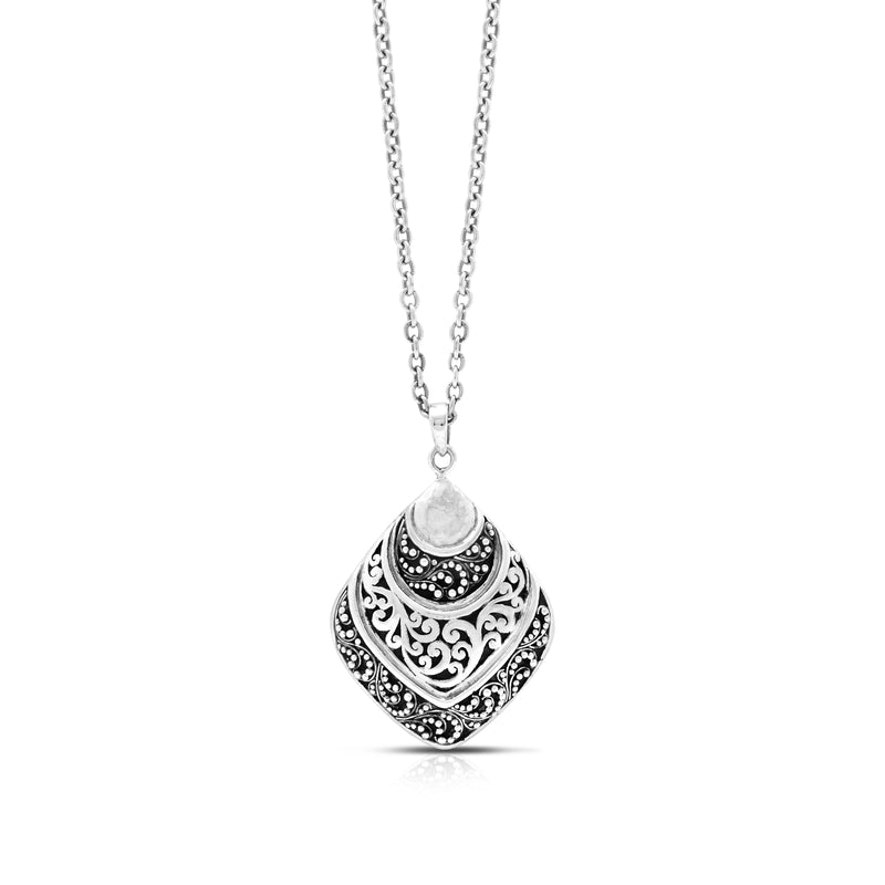 "Classic Open Signature Scroll and Granulated Shell-shaped Pendant Necklace. Pendant 28mm X 44mm 17"" chain"