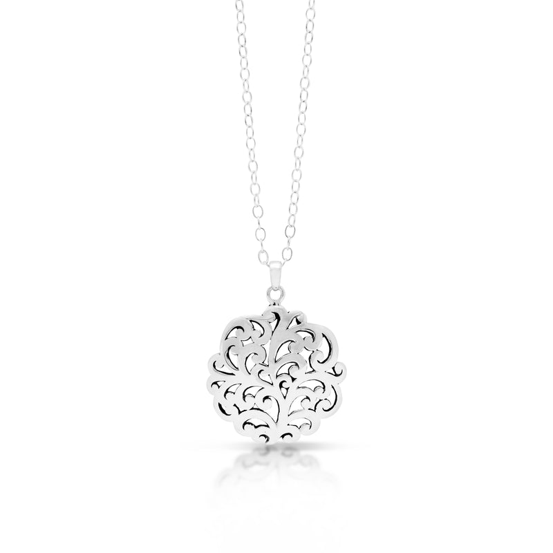 Classic Open Round Signature Scroll Pendant Necklace