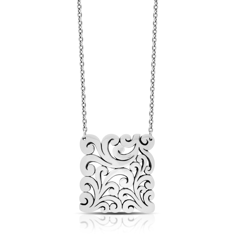 "Classic Signature Flat Rectangle Open Scroll Pendant Necklace. 36mm X 38mm Pendant 18"" Chain"