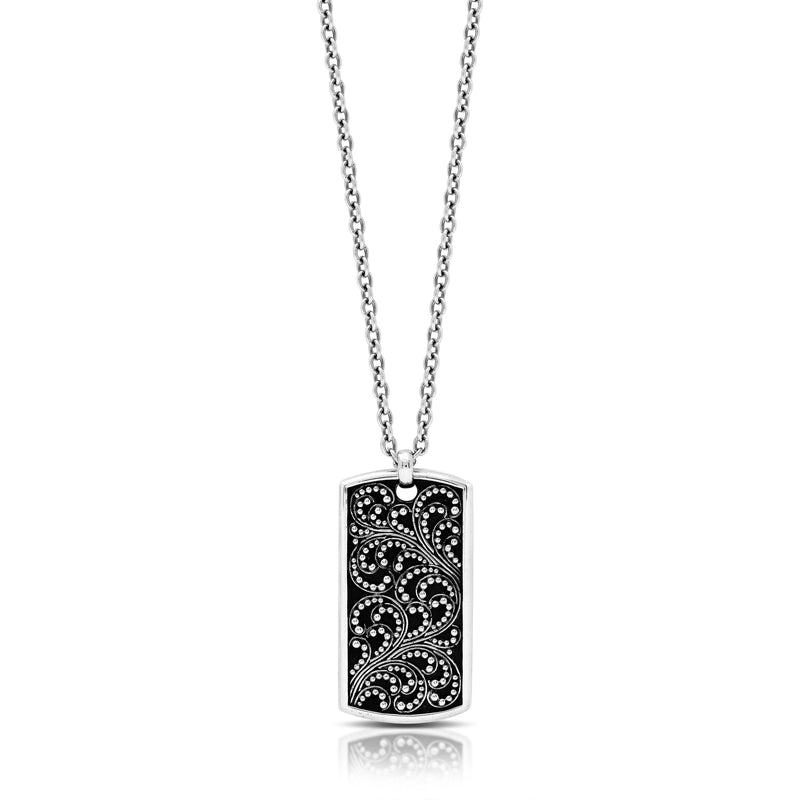 Classic Granulated Dogtag Pendant Necklace. Pendant Size 19mm X 37mm
