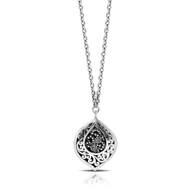 "Classic  Signature Scroll Granulated Drop Bulb Pendant Necklace. Pendant 20mm x 39mm 18"" chain"