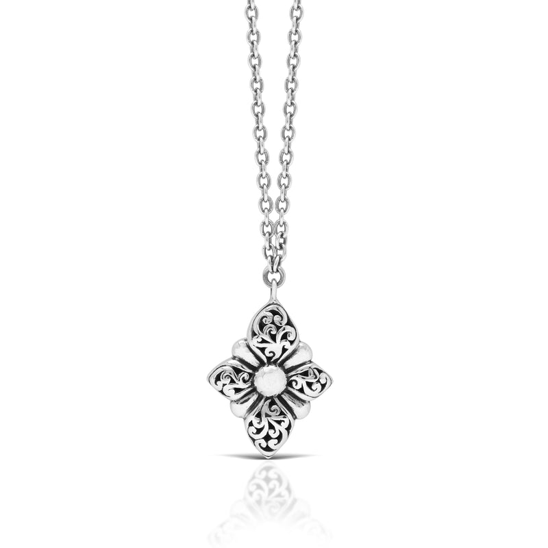 "Classic Alhambra Signature Cross Flower Shape Pendant Necklace. 20mm X 30mm Pendant. 18"" Chain"