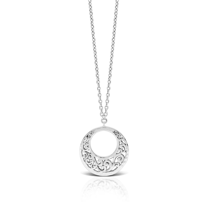 "Classic Signature Flat Open Scroll Half Moon Pendant Necklace. 29mm Diameter Pendant 18"" Chain"