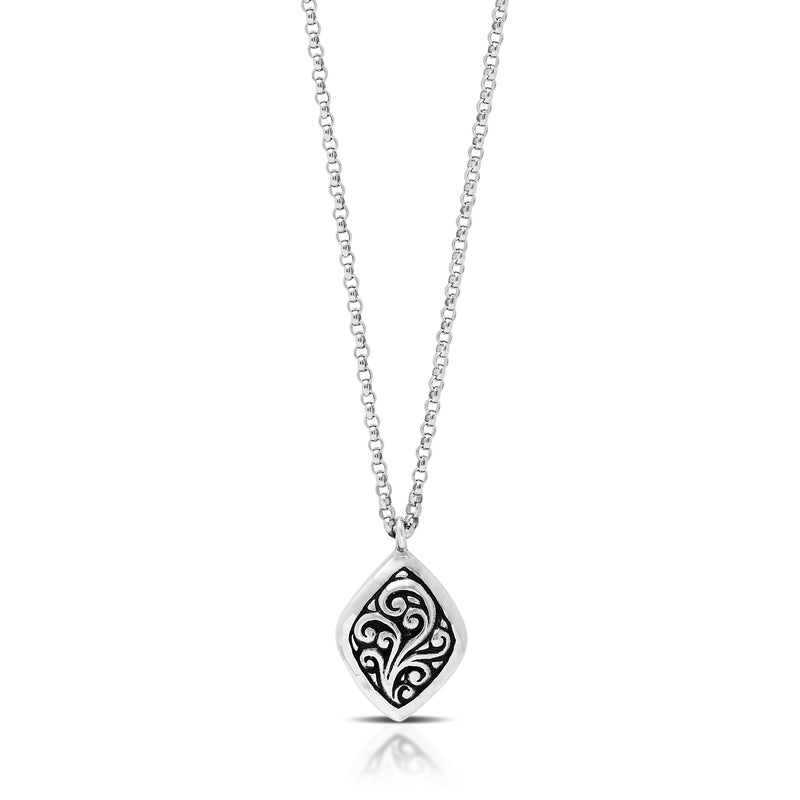 "Classic Carved Signature Scroll Diamond Shaped Drop Pendant Necklace. 12mm x 16mm Pendant. 18"" Chain"