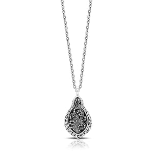 "Classic Signature Scroll Granulated Drop Pendant Necklace. Pendant 17mm x 31mm. 18"" chain"