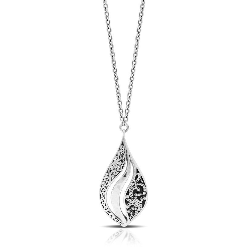 "Classic Signature Open Scroll Granulated Teardrop Pendant Necklace. Pendant 20mm x 40mm 18"" chain"