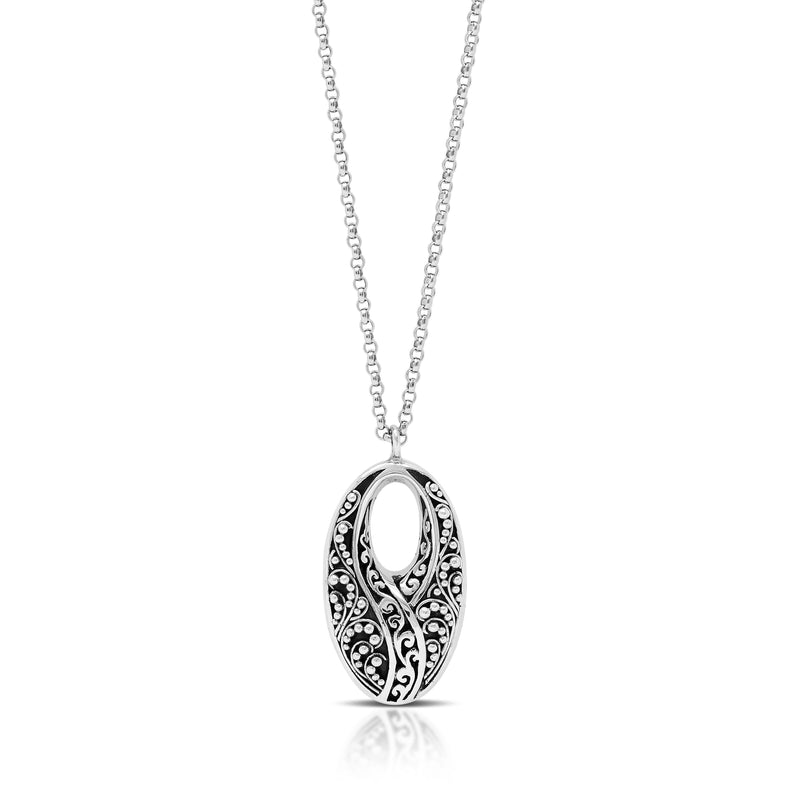 "Classic Oval Half Signature Scroll Granulated Pendant Necklace. Pendant 14mm x 27mm  18"" chain"
