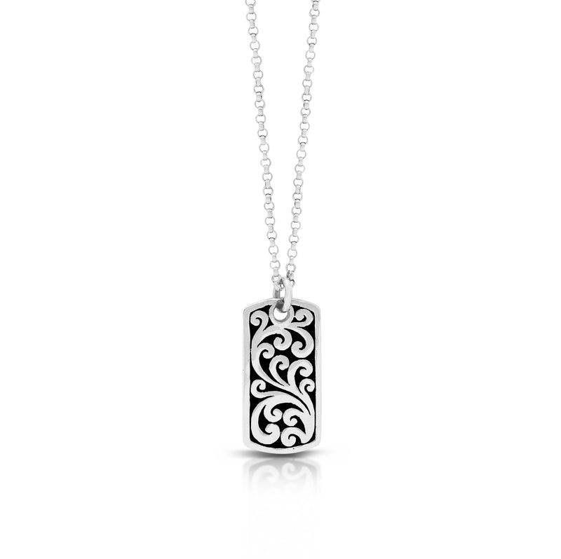 "LH Classic Signature Scroll Round Rectangular ID Tag Pendant Necklace (11*22mm. 18"" Chain)"