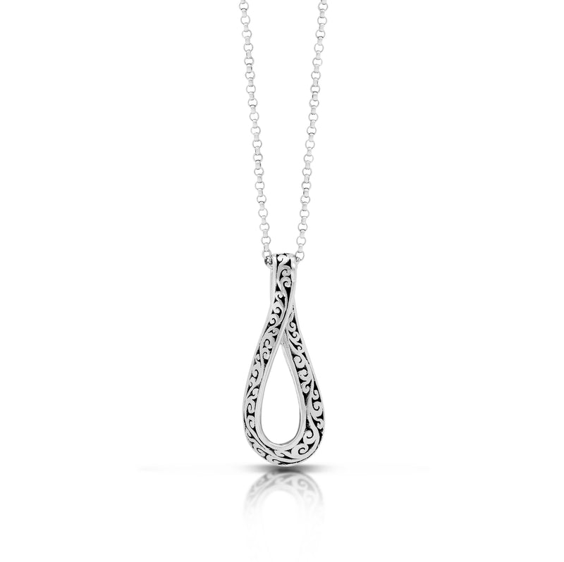 "LH Classic Signature Scroll Twisted Pendant Necklace (12*32mm Pendant. 18"" Chain)"