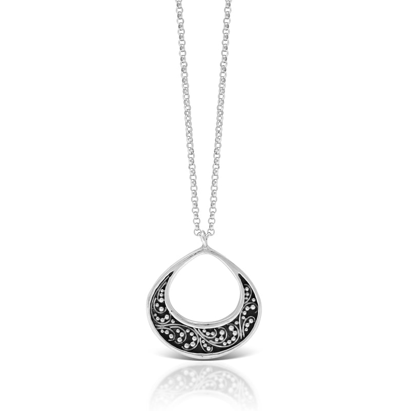 "LH Classic Signature Granulation Silhouette Teardrop Pendant Necklace (21mm Pendant. 18"" Chain)"
