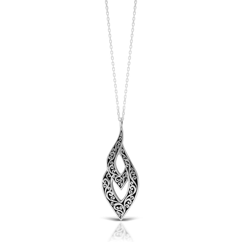 "LH Classic Signature  Scroll Layered Marquise Pendant Necklace (14*36mm Pendant. 18"" Adjustable Chain)"