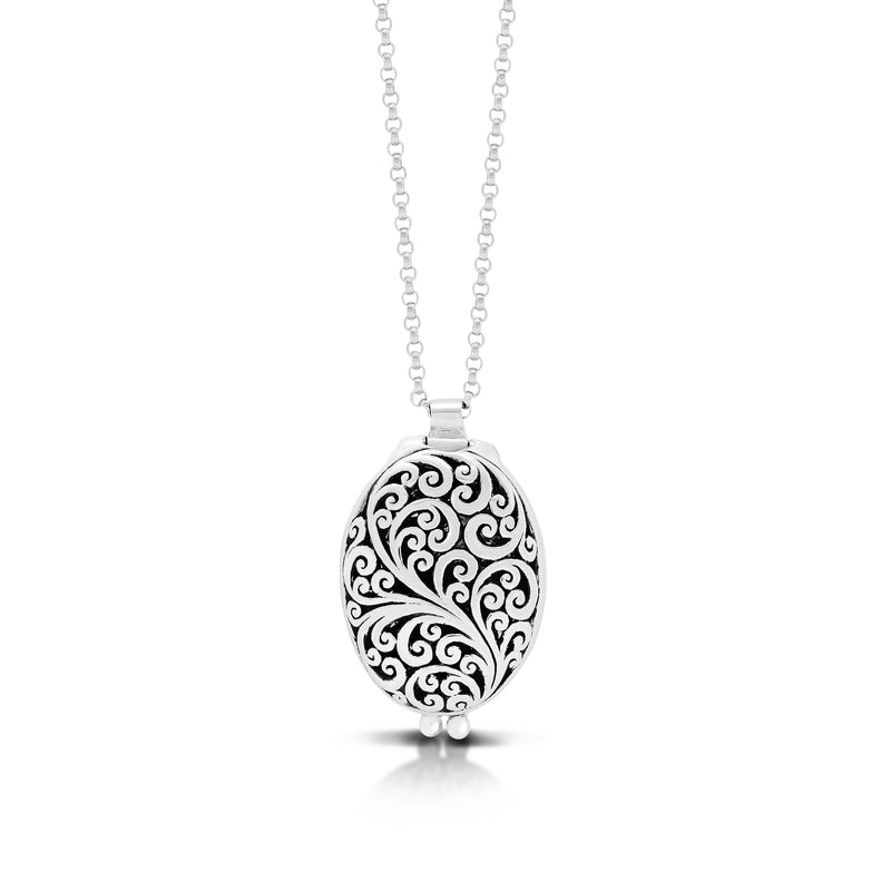 "Classic Oval Reversible Carved Signature Scroll Locket Pendant Necklace. 17mm x 23mm Pendant . 18"" Chain"