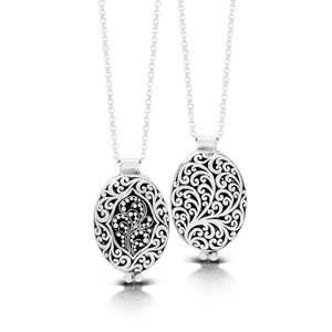 "Classic Oval Reversible Granulated/Carved Signature Scroll Locket Pendant Necklace. 18mm x 24mm Pendant . 18"" Chain"