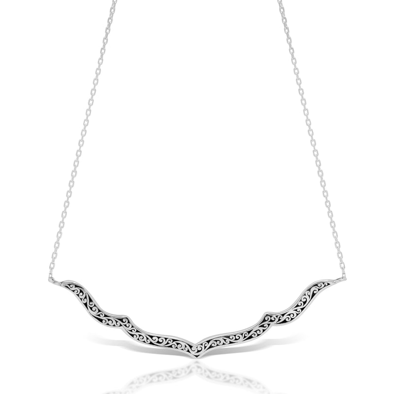 "Classic Signature Scroll Long Stylized Curved Pendant Necklace. 3mm x 58mm Pendant. 18"" Chain"