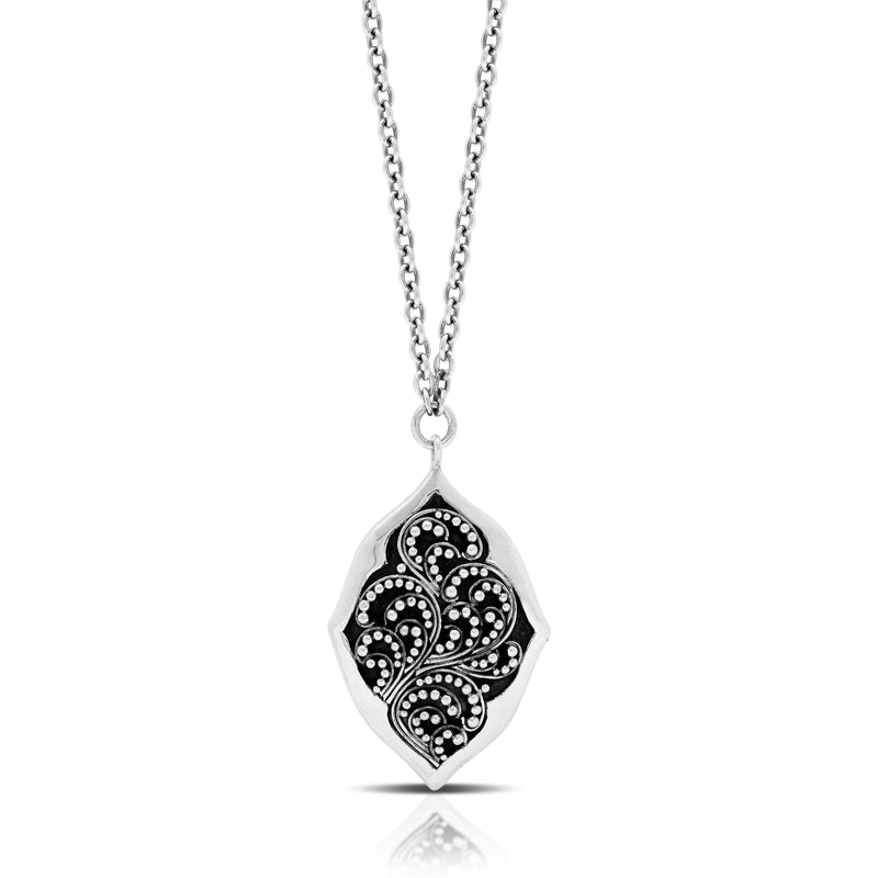 "Classic Granulated Marquise Pendant Necklace. 22mm x 32mm Pendant. 17"" Chain"