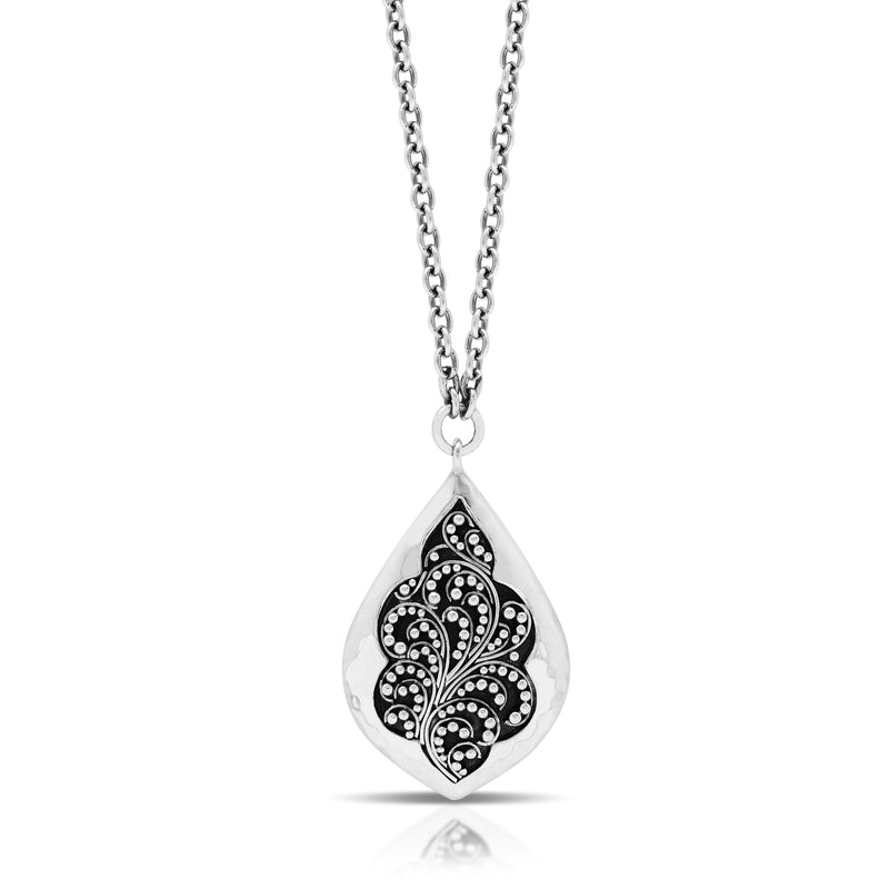 "Classic Stylized Granulated Bulb Pendant Necklace. 21mm x 31mm Pendant. 18"" Chain"