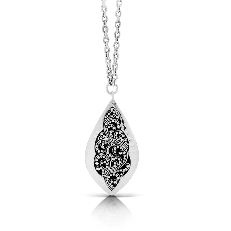 "Classic Stylized Granulated Marquise with Hammered Border Pendant Necklace. 19mm x 36mm Pendant. 19"" Chain"