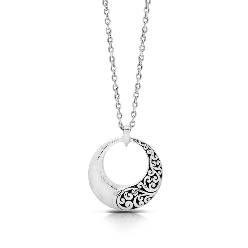 "Round Classic Signature Scroll Half and Hammered Pendant Necklace. 29mm Diameter Pendant. 19"" Chain"
