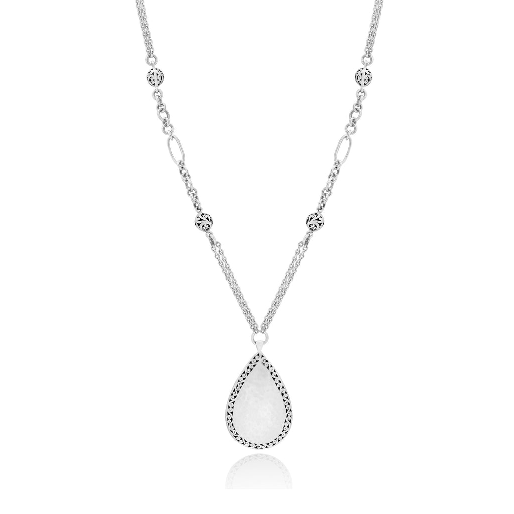 Classic Teardrop Hammered with Signature Scroll Border Pendant Necklace - Lois Hill Jewelry