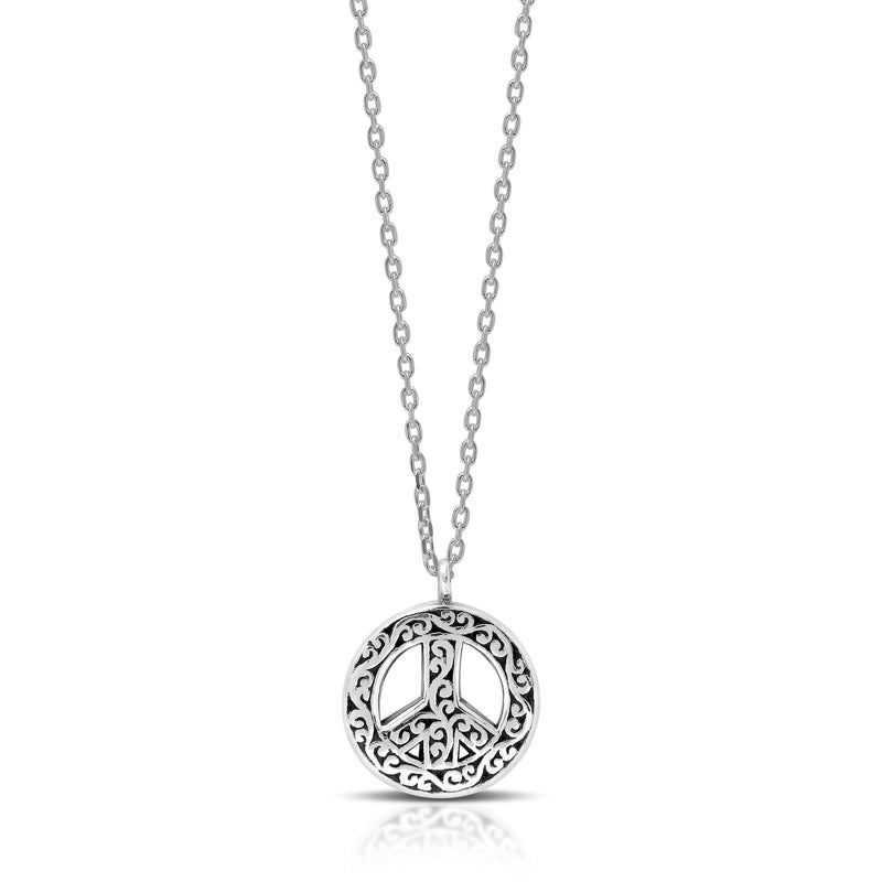 "Classic Signature Flat Open Scroll Peace Sign Pendant Necklace. Diameter 13mm. 18"" Chain"
