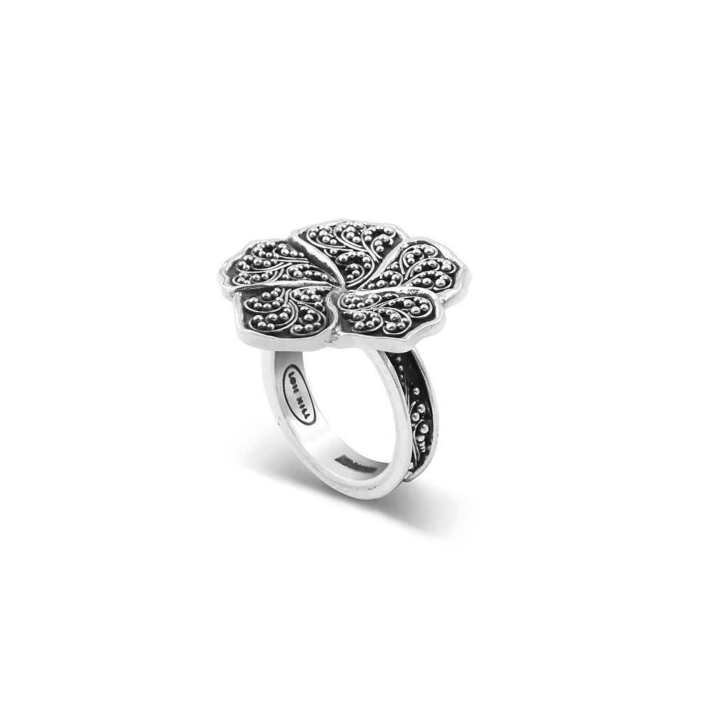 Classic Granulated Scroll Flower Ring